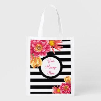 Flowers on Stripes Custom Text Reusable Bag