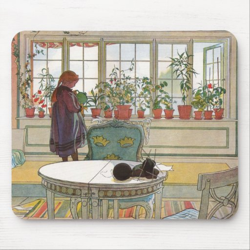 """Flowers on the Windowsill"" by Carl Larsson Art Mouse Mats"