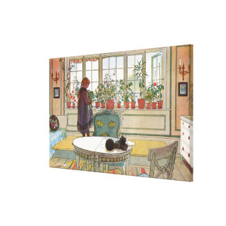 Flowers on the Windowsill by Carl Larsson Canvas Print
