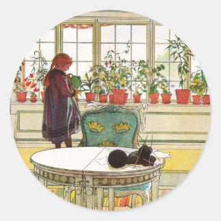 Flowers on the Windowsill by Carl Larsson Round Sticker