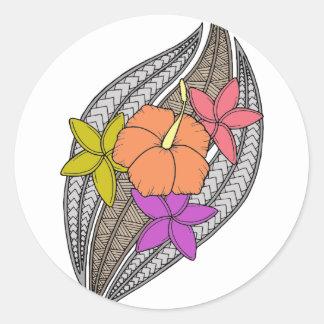 Flowers on Wicker Classic Round Sticker