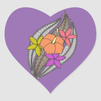 Flowers on Wicker Heart Sticker