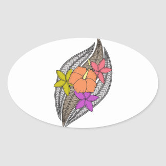 Flowers on Wicker Oval Sticker