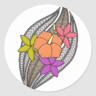 Flowers on Wicker Round Sticker