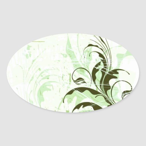 Flowers-Ornament-Grunge-Background-Vector GREEN WH Oval Stickers