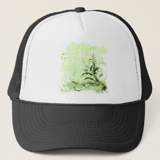 Flowers-Ornament-Grunge-Background-Vector GREEN WH Trucker Hat
