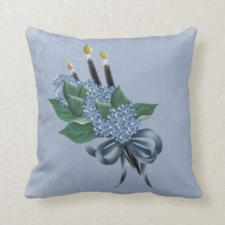 Flowers & Paintbrushes Throw Pillow