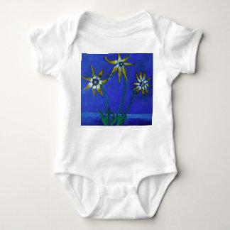 Flowers Painting Baby Jersey Bodysuit, White Baby Bodysuit