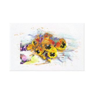 Flowers, pansys/water color, Watercolor Canvas Print