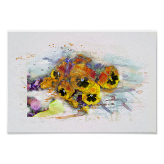 Flowers, pansys/water color, Watercolor Poster