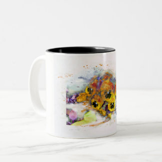 Flowers, pansys/water color, Watercolor Two-Tone Coffee Mug