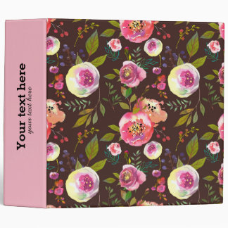 Flowers pattern 3 ring binder