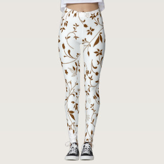 Flowers Pattern White and Brown Leggings