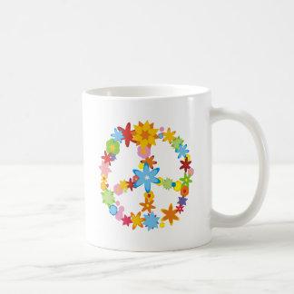 Flowers Peace Sign Coffee Mug