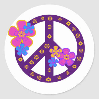 Flowers Peace Symbol Classic Round Sticker