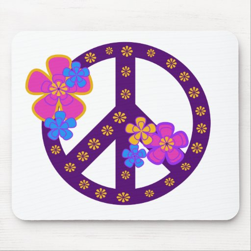 Flowers Peace Symbol Mouse Pads