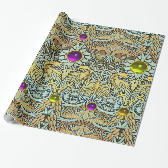 FLOWERS,PEACOCKS,DRAGONS, PURPLE YELLOW GEM STONES WRAPPING PAPER