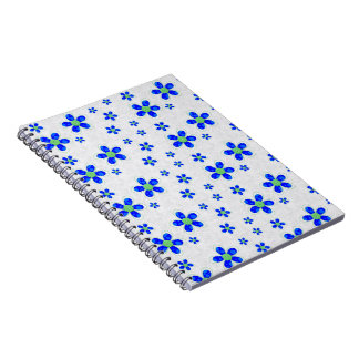 Flowers, Petals, Buttons - Green Blue White Notebook