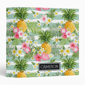 Flowers & Pineapple Teal Stripes | Add Your Name Binder