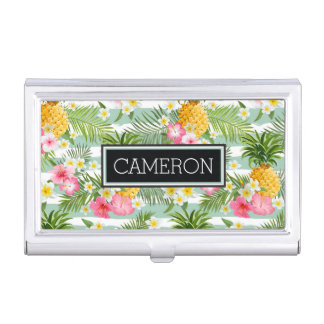 Flowers & Pineapple Teal Stripes | Add Your Name Business Card Holders