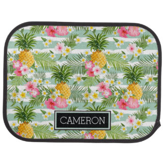 Flowers & Pineapple Teal Stripes | Add Your Name Car Carpet