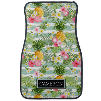 Flowers & Pineapple Teal Stripes | Add Your Name Car Floor Carpet