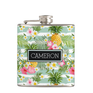 Flowers & Pineapple Teal Stripes | Add Your Name Flask