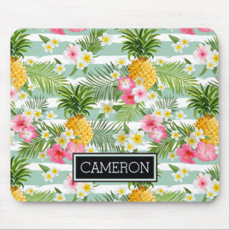Flowers & Pineapple Teal Stripes | Add Your Name Mouse Pad