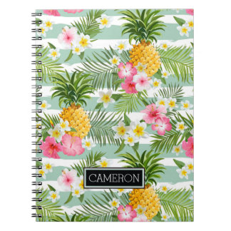 Flowers & Pineapple Teal Stripes | Add Your Name Notebook