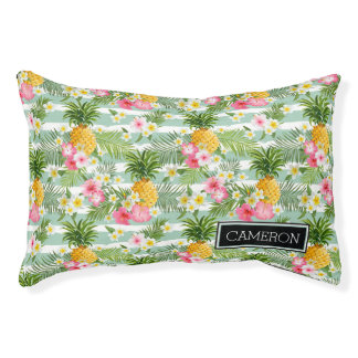 Flowers & Pineapple Teal Stripes | Add Your Name Small Dog Bed