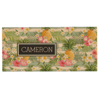 Flowers & Pineapple Teal Stripes | Add Your Name Wood USB 2.0 Flash Drive