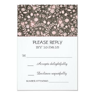 Flowers pink brown rustic wedding RSVP cards