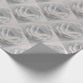 Flowers Powder White Rose Gold Blush Metallic Pink Wrapping Paper