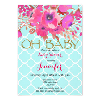 Flowers quatrefoil modern geometric baby shower card
