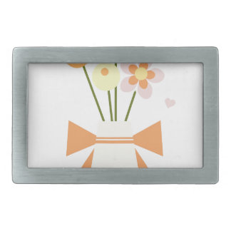 flowers rectangular belt buckle