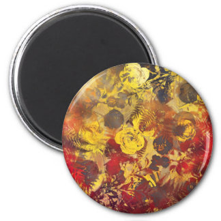 flowers red 2 inch round magnet