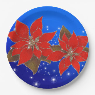 Flowers red of Christmas on blue bottom 9 Inch Paper Plate