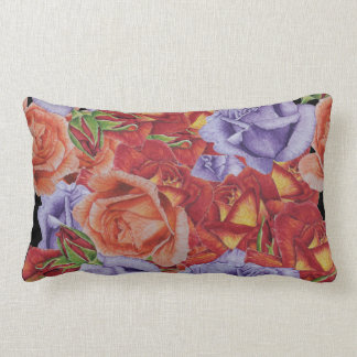 flowers red roses and rose buds floral art lumbar pillow