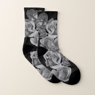 flowers red roses and rose buds floral monochrme 1