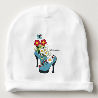Flowers & Retro High Heel Shoes Personalized Baby Beanie