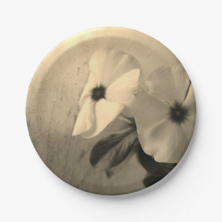 Flowers Retro Photo Custom Paper Plates 7 in