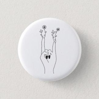 Flowers rock 1 inch round button