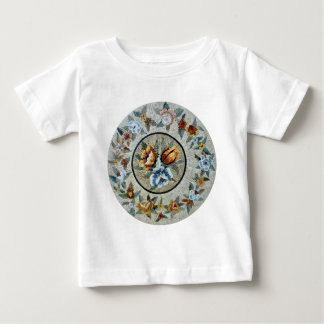 Flowers Round Medallion Decor Marble Mosaic Baby T-Shirt