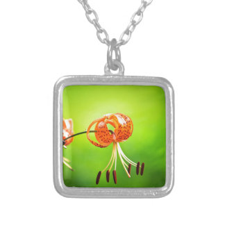 flowers silver plated necklace