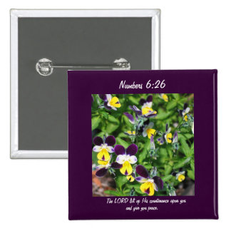Flowers Square Button Numbers 6 26 Peace