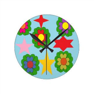 flowers stars round clock