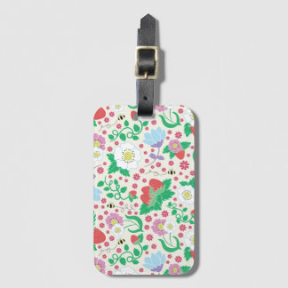 Flowers, Strawberries, and Bees Luggage Tag