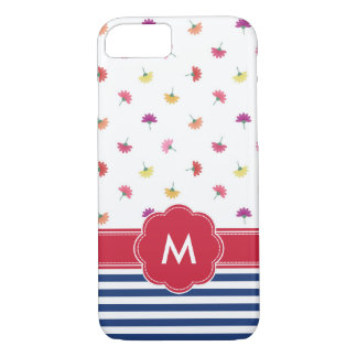 Flowers & Stripes Navy Blue & Red Monogrammed Case-Mate iPhone Case