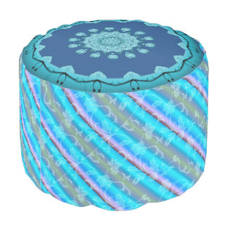Flowers Sturdy Spun Polyester Round Pouf