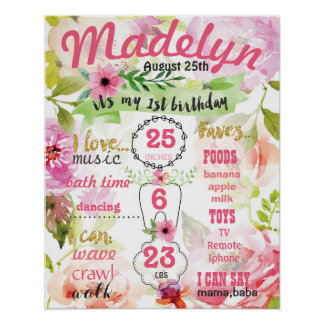 Flowers Summer First Birthday Party sign poster